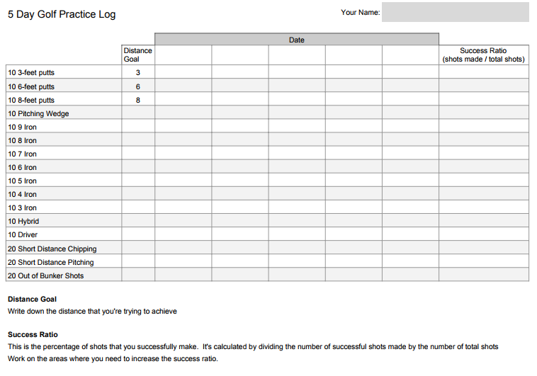 Golf Practice Schedule Template from greatgolfahead.com